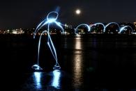 Lightpainting auf der Alster